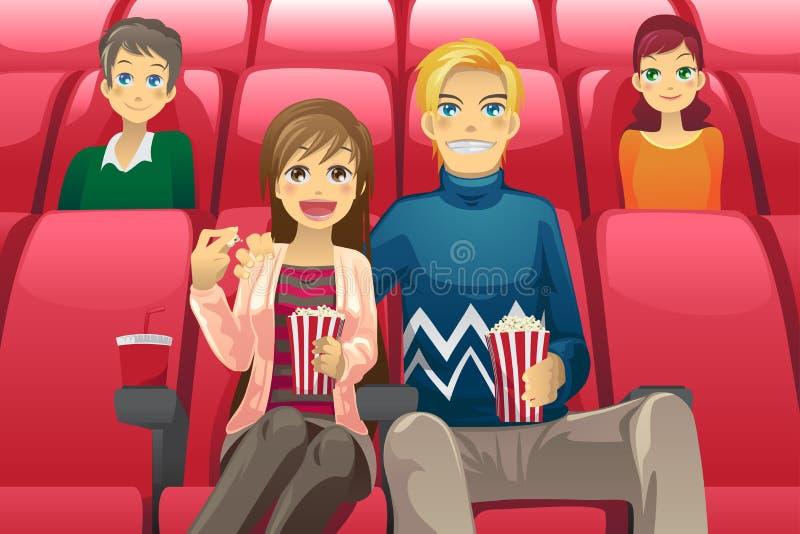 Film de observation de couples illustration de vecteur
