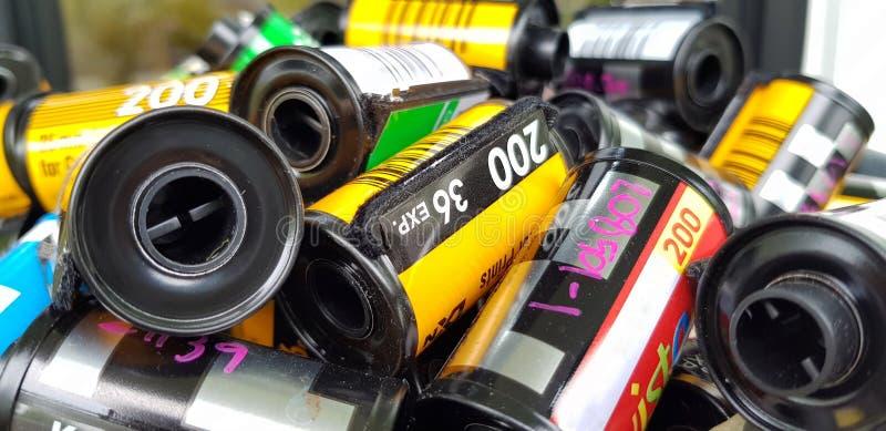 Film de photo en film de petit pain photographique de cartouche 35 millimètres photo libre de droits