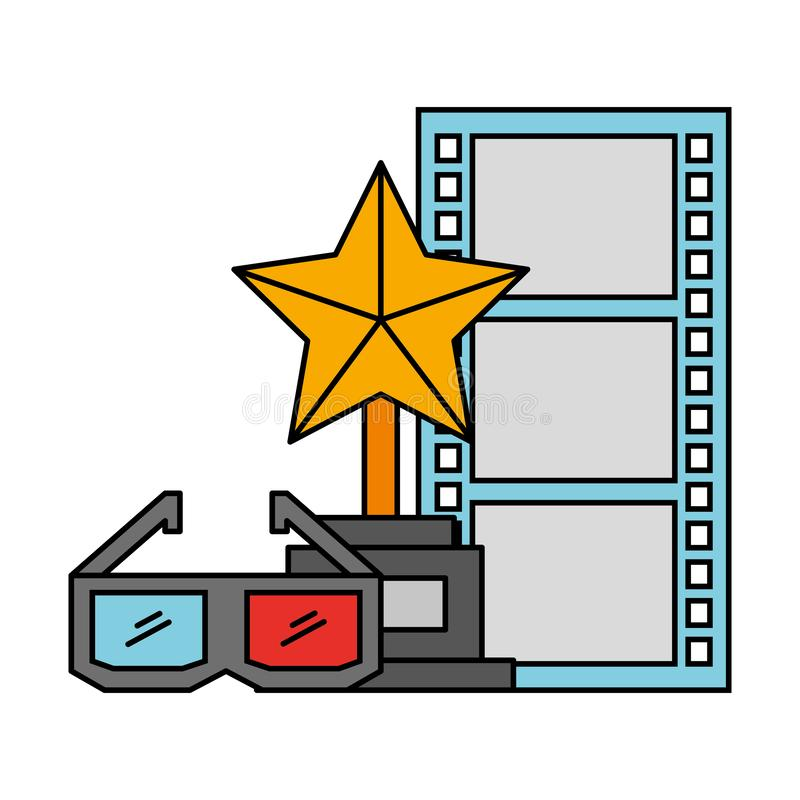 Film del cinema di vetro del premio 3d del trofeo e del film di striscia illustrazione vettoriale