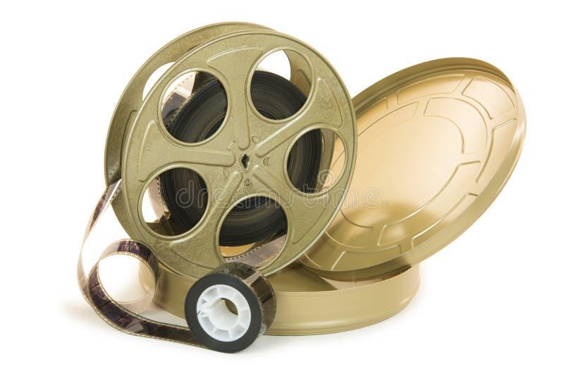 film di 35mm in bobina e sua latta immagine stock