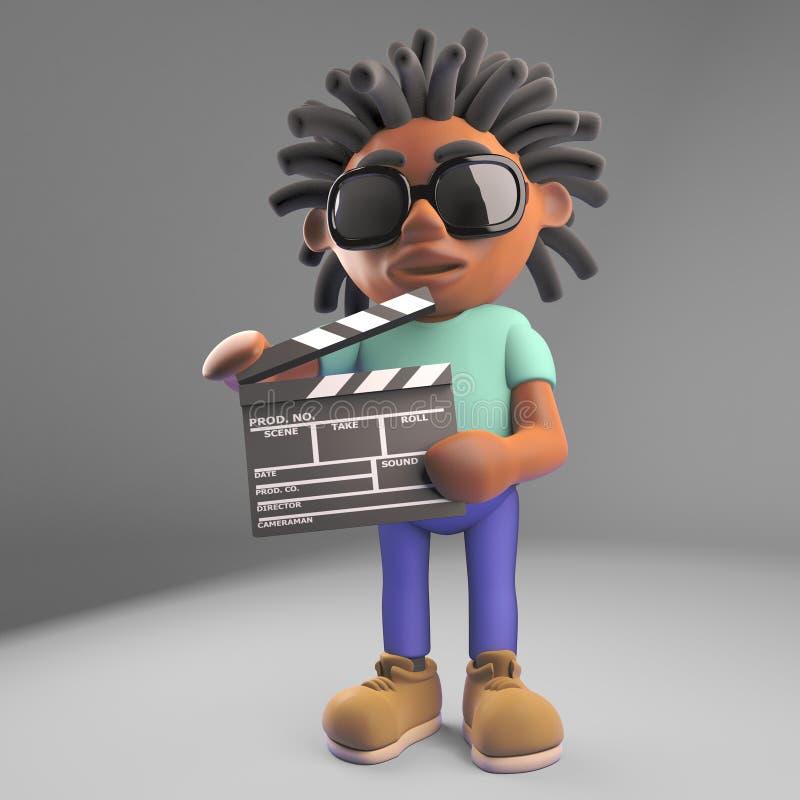 Film director black man with dreadlocks holding a film slate, 3d illustration. Render vector illustration