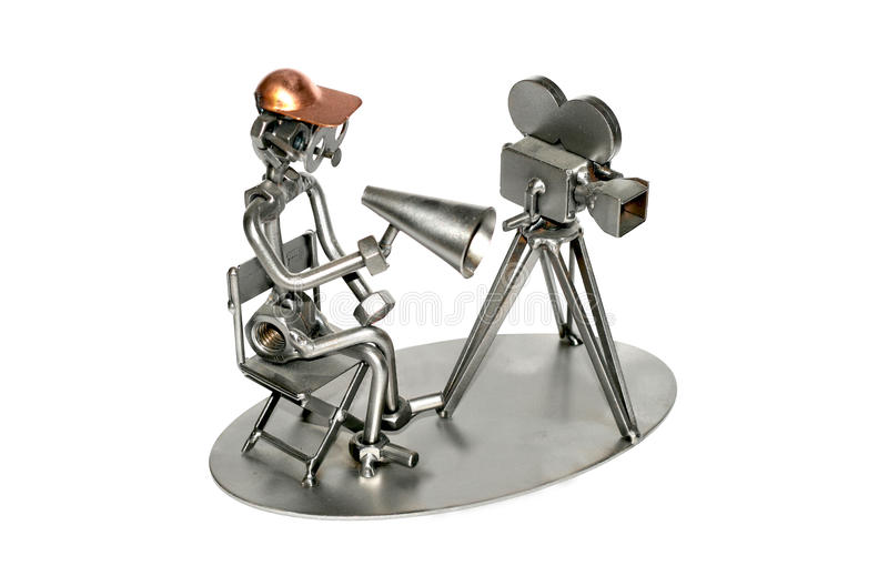 Film director iron toy. Iron toy made from bolts royalty free stock photo