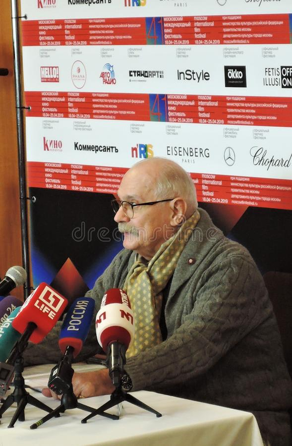 Film director Nikita Mikhalkov at press-conference. MOSCOW - APRIL 18, 2019: Film director, actor and president of Moscow International Film Festival Nikita royalty free stock photos