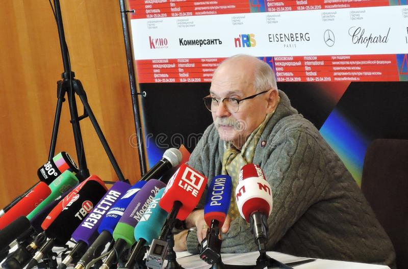 Film director Nikita Mikhalkov at press-conference. MOSCOW - APRIL 18, 2019: Film director, actor and president of Moscow International Film Festival Nikita royalty free stock image