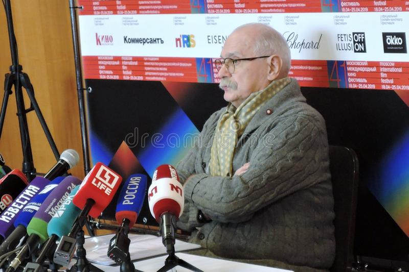 Film director Nikita Mikhalkov at press-conference. MOSCOW - APRIL 18, 2019: Film director, actor and president of Moscow International Film Festival Nikita stock photos