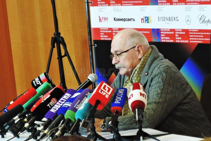 Film director Nikita Mikhalkov at press-conference. MOSCOW - APRIL 18, 2019: Film director, actor and president of Moscow International Film Festival Nikita stock photo