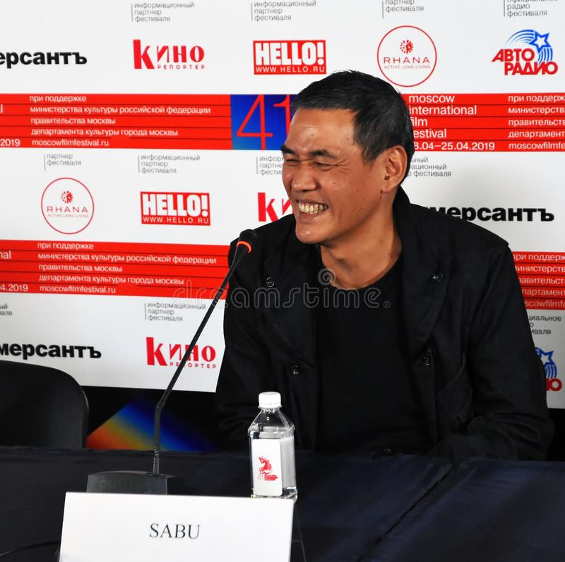 Film director SABU from Japan 41st Moscow International Film Festival. MOSCOW - APRIL 18, 2019: Film director, actor, singer SABU from Japan at 41st Moscow stock photography