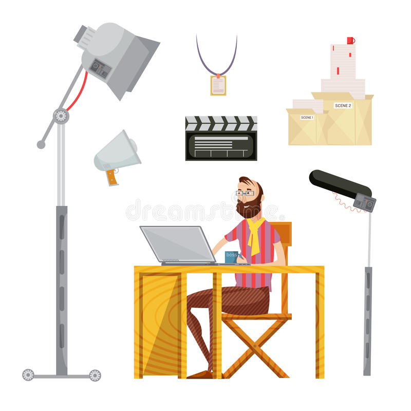Film Director Set. Set of film director including man with mug near laptop movie script microphone lighting isolated vector illustration vector illustration
