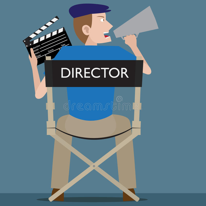 Film Director. Is sitting on his chair with clapperboard on his hand stock illustration