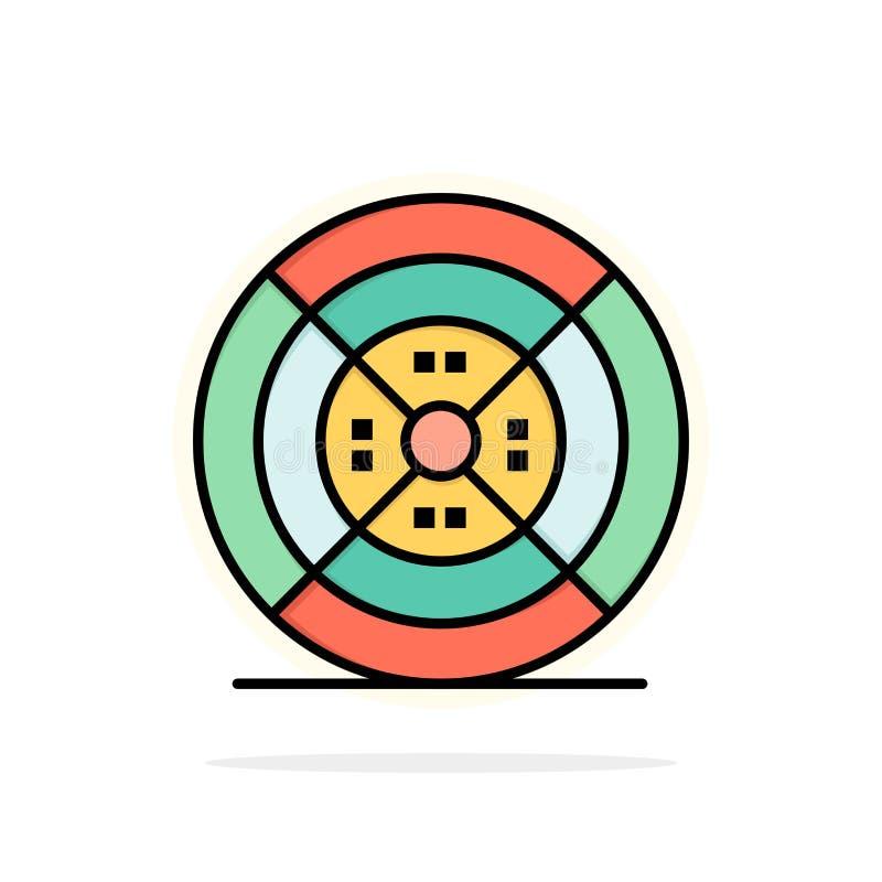 Film, drucik, druk, druku okręgu Abstrakcjonistycznego tła koloru Płaska ikona ilustracja wektor