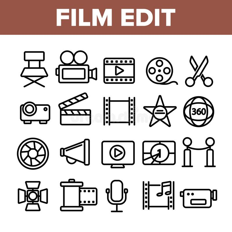 Film Edit, Filmmaking Linear Vector Icons Set. Movie Shooting, Editing Thin Line Symbols Pack. Videotaping Pictograms. Cinematography and Motion picture. Video royalty free illustration