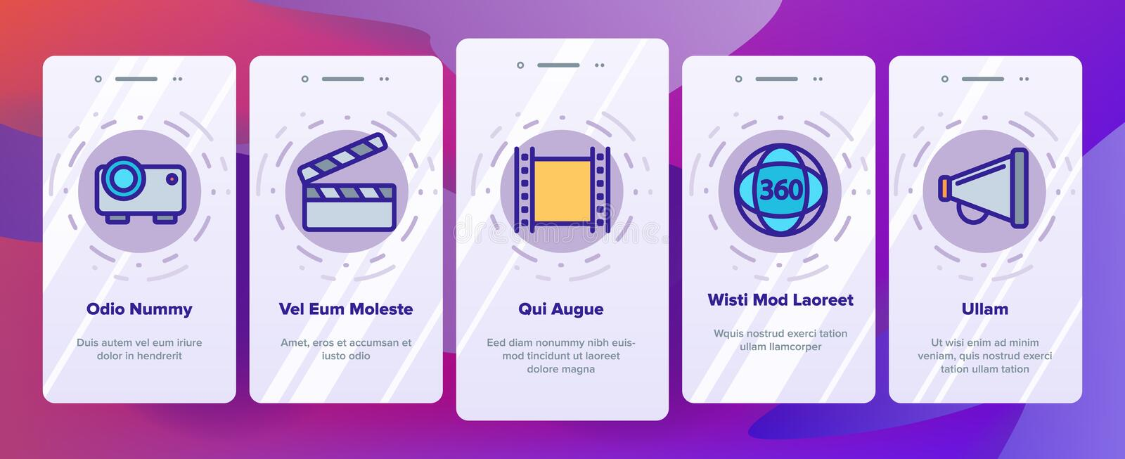 Film Edit, Filmmaking Linear Vector Onboarding. Film Edit, Filmmaking Onboarding Mobile App Page Screen Vector Icons Set. Movie Shooting, Editing Thin Line vector illustration