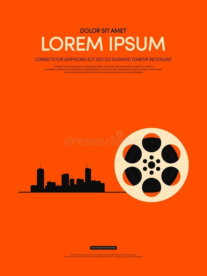 Film en achtergrond van de film de moderne retro uitstekende affiche royalty-vrije illustratie