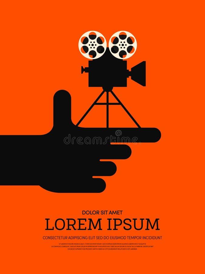 Film en achtergrond van de film de moderne retro uitstekende affiche vector illustratie