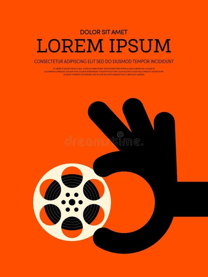 Film en achtergrond van de film de moderne retro uitstekende affiche stock illustratie