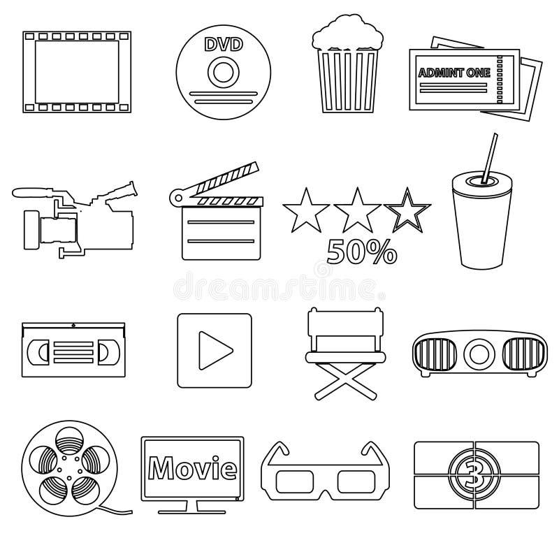 Film en bioskoop vector eenvoudige geplaatste overzichtspictogrammen royalty-vrije illustratie