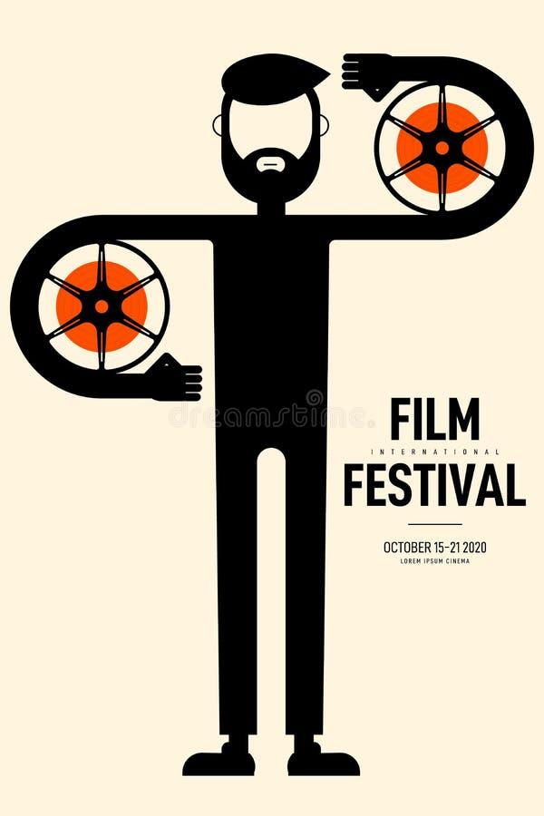 Film en de affiche moderne uitstekende retro stijl van het filmfestival royalty-vrije illustratie