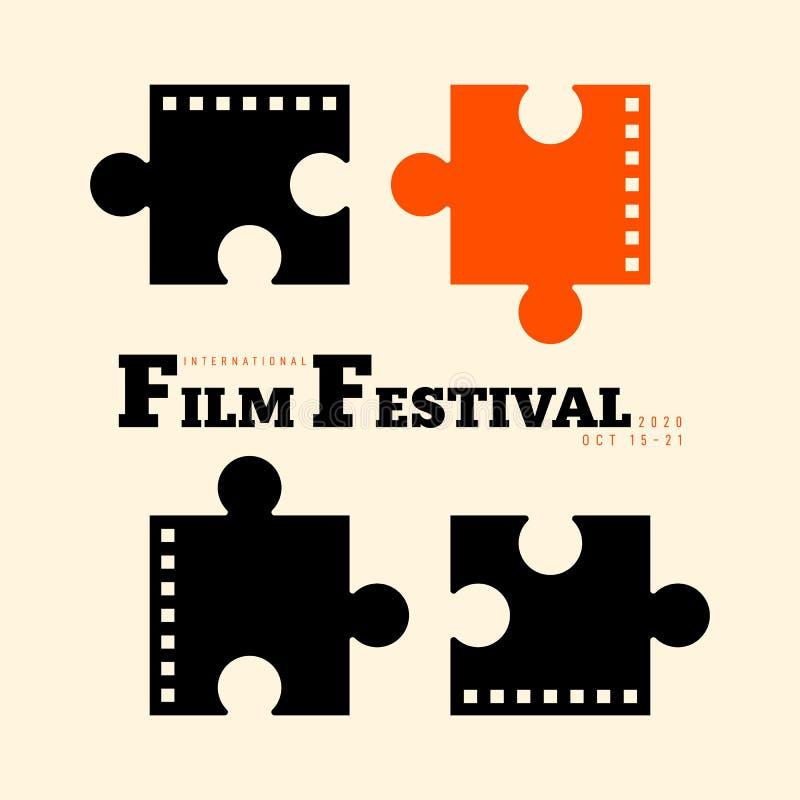 Film en de affiche moderne uitstekende retro stijl van het filmfestival vector illustratie