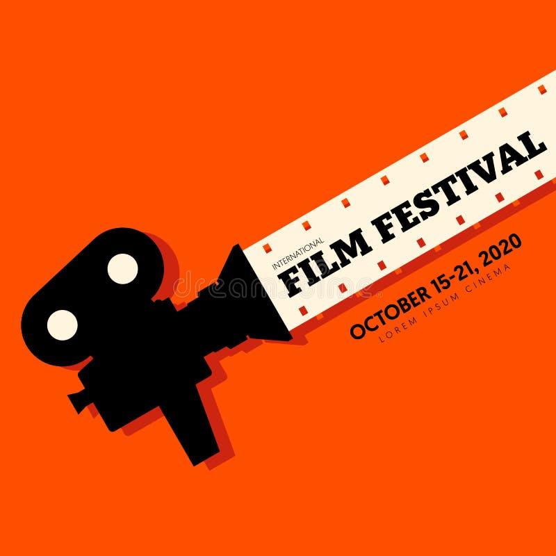 Film en de affiche moderne uitstekende retro stijl van het filmfestival stock illustratie