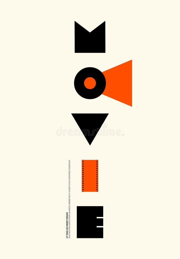 Film en de moderne uitstekende retro stijl van de filmaffiche vector illustratie