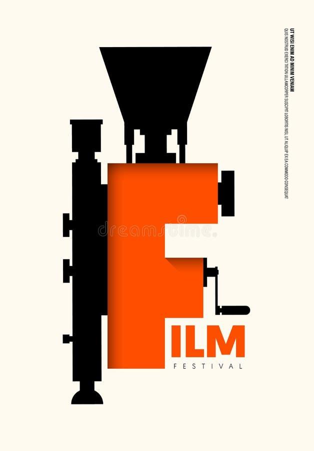 Film en de moderne uitstekende retro stijl van de filmaffiche royalty-vrije illustratie