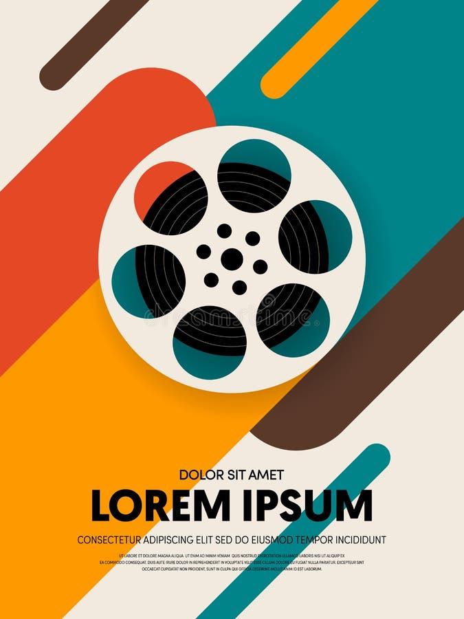 Film en van het het malplaatjeontwerp van de filmaffiche de moderne retro uitstekende stijl vector illustratie