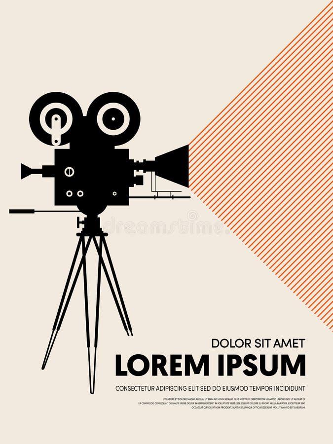 Film en van het het malplaatjeontwerp van de filmaffiche de moderne retro uitstekende stijl royalty-vrije illustratie