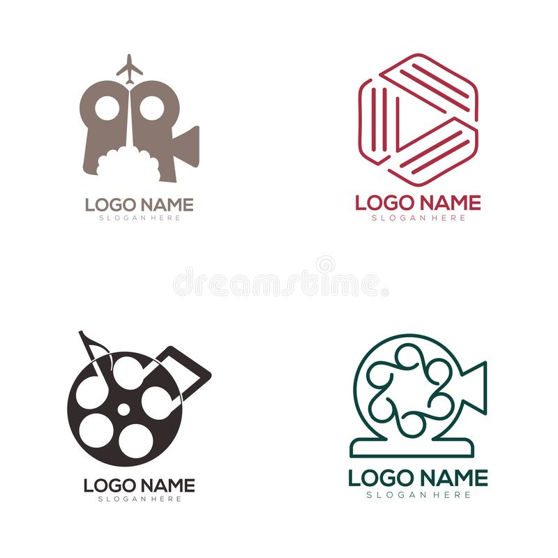 Film entertainment and video logo and icon design. Suitable for your business, company and personal branding stock illustration