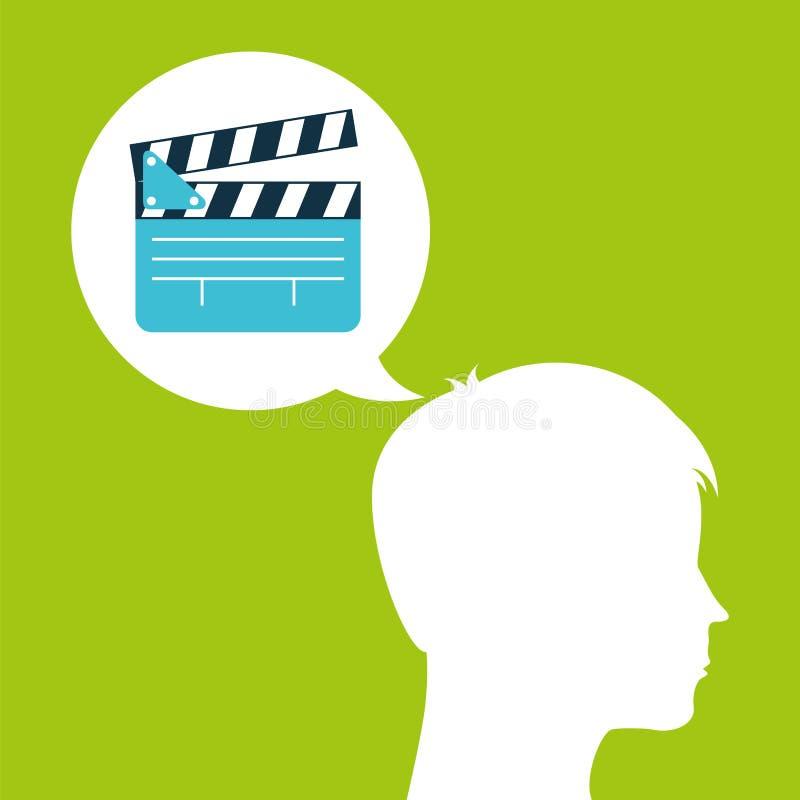 Film för funderare för huvud för Clapperfilmkontur royaltyfri illustrationer