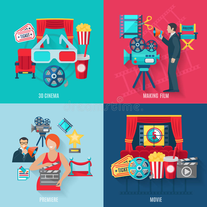Film faisant des icônes réglées illustration libre de droits