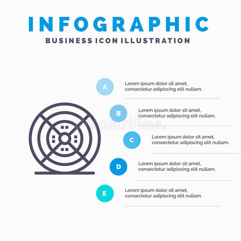 Film, filament, impression, étapes bleues du calibre 5 d'Infographics d'impression Ligne calibre de vecteur d'ic?ne illustration libre de droits