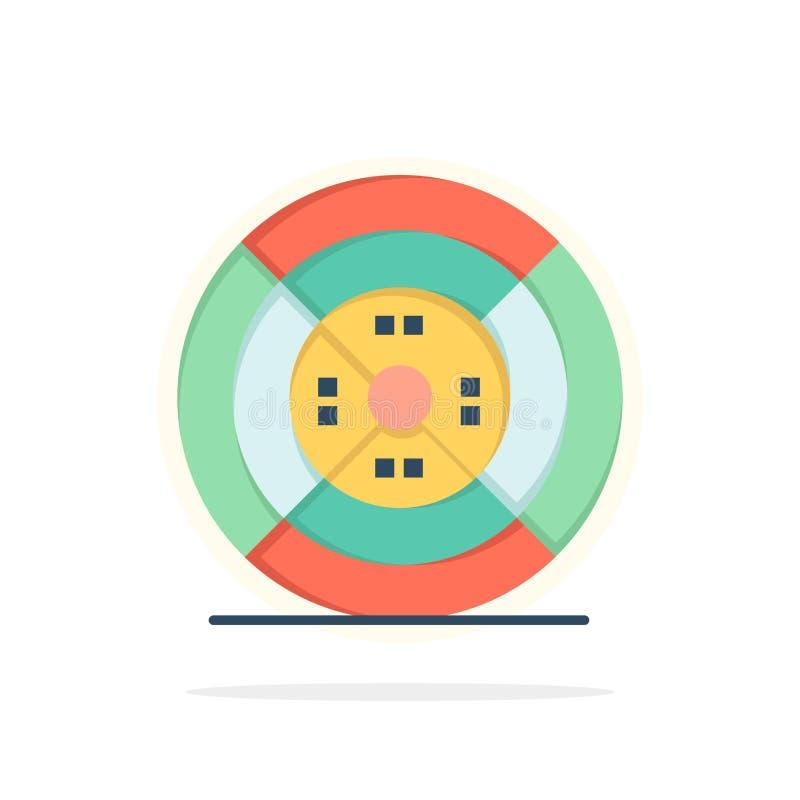 Film, filament, impression, icône plate de couleur de fond de cercle d'abrégé sur impression illustration libre de droits