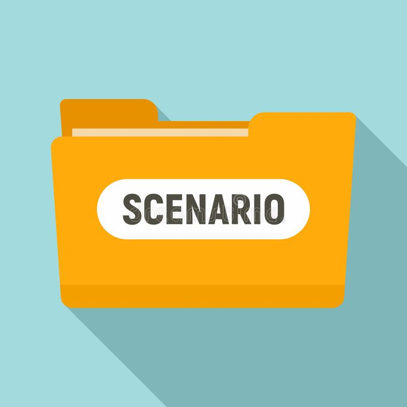 Film folder scenario icon, flat style vector illustration