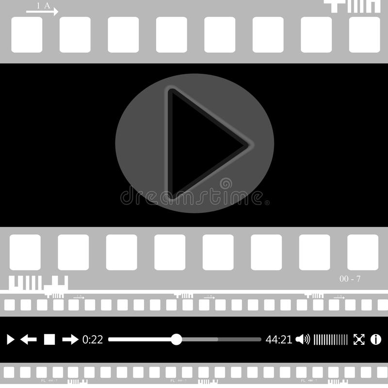 Film, film, foto, filmstripreeks van filmkader, illustratie vector illustratie