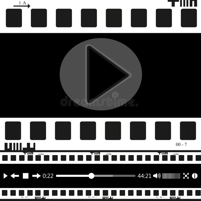 Film, film, foto, filmstripreeks van filmkader, illustratie royalty-vrije illustratie