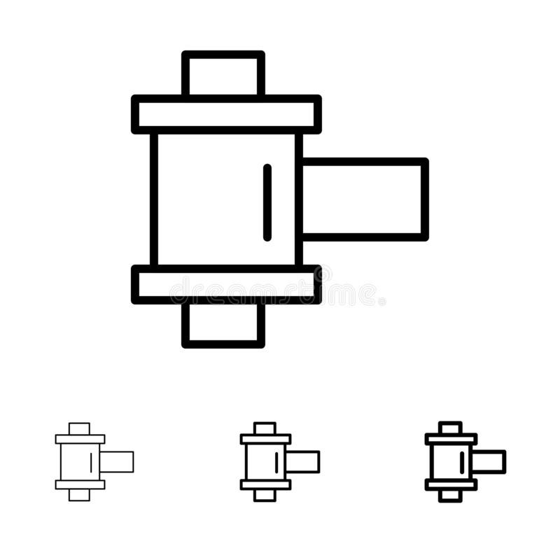Film, Foto, het pictogramreeks van de Spoel Gewaagde en dunne zwarte lijn stock illustratie