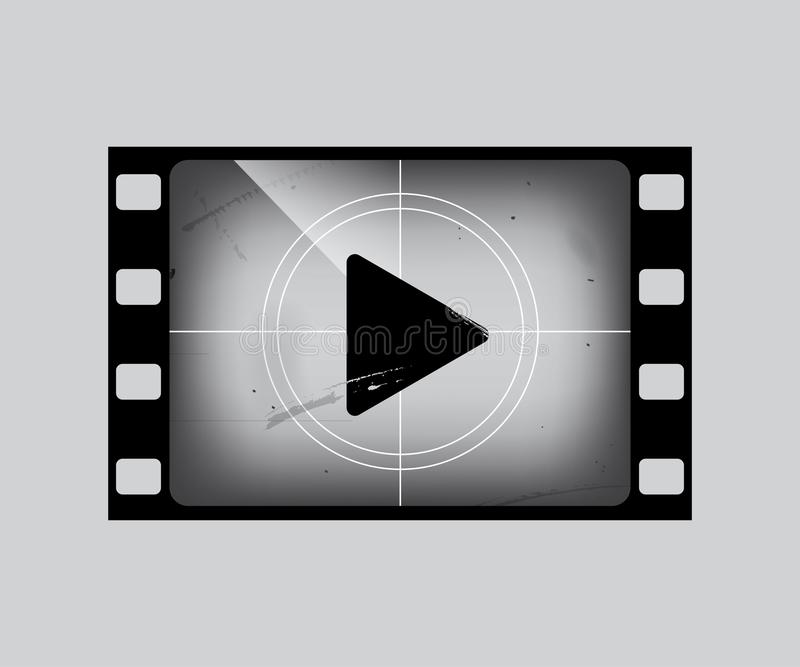 Film frame with play simbol on grey. Vector grunge film strip part. vector illustration