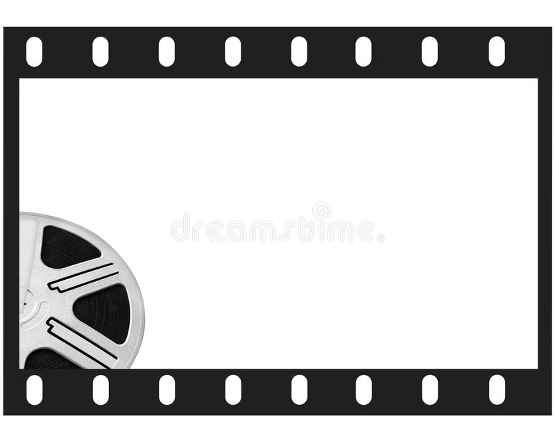 Film frame and round reel film. White isolated place for photo and text stock illustration