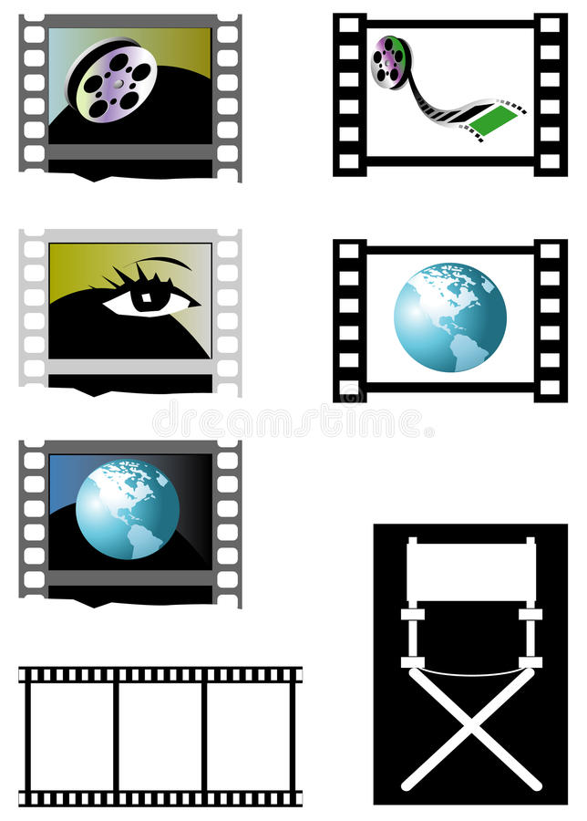 Film frames and director's chair royalty free illustration