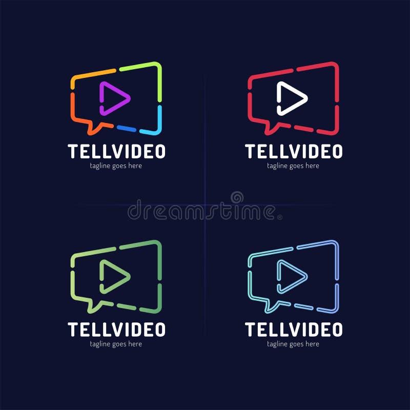 Film gadki loga szablon Kamera wideo i mowy bąbla wektor royalty ilustracja
