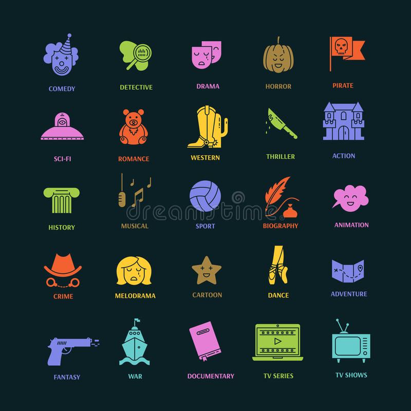 Film genre icon set. Vector set of movie genres flat icons on dark background. Different film genre elements perfect for infographic or mobile app stock illustration