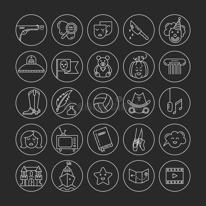 Film genre icon set stock illustration