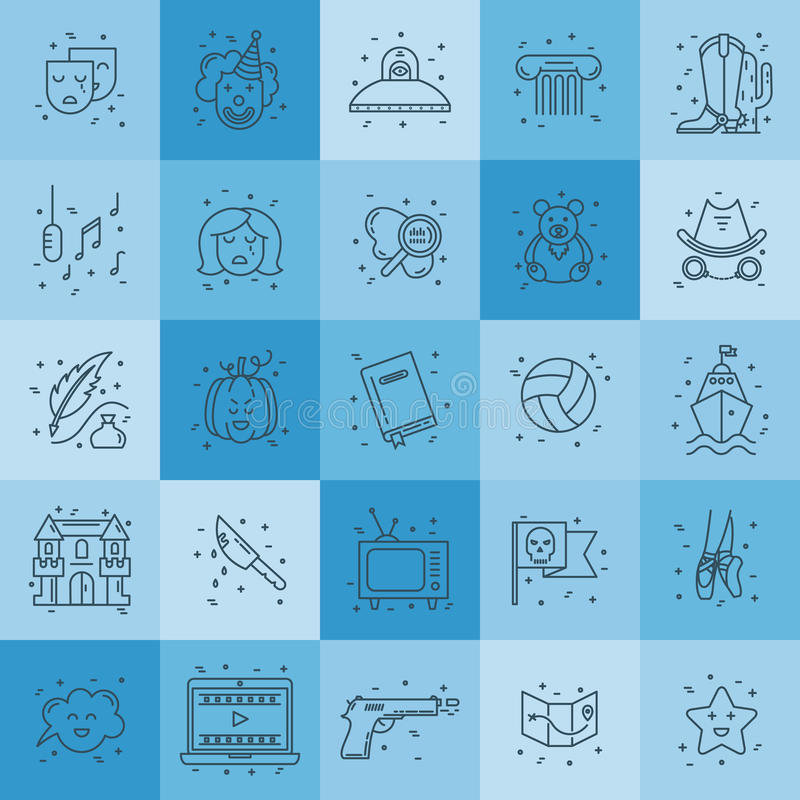 Film genre icon set. Vector set of movie genres line icons isolated on background. Different film genre elements perfect for infographic or mobile app vector illustration