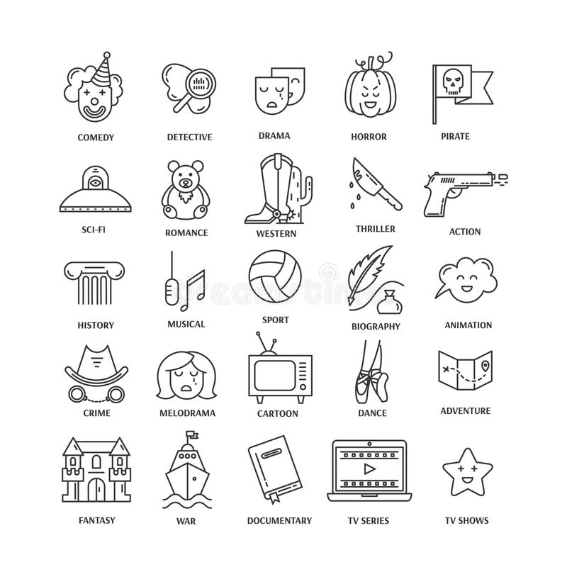 Film genre icon set. Vector set of movie genres line icons isolated on white background. Different film genre elements perfect for infographic or mobile app vector illustration