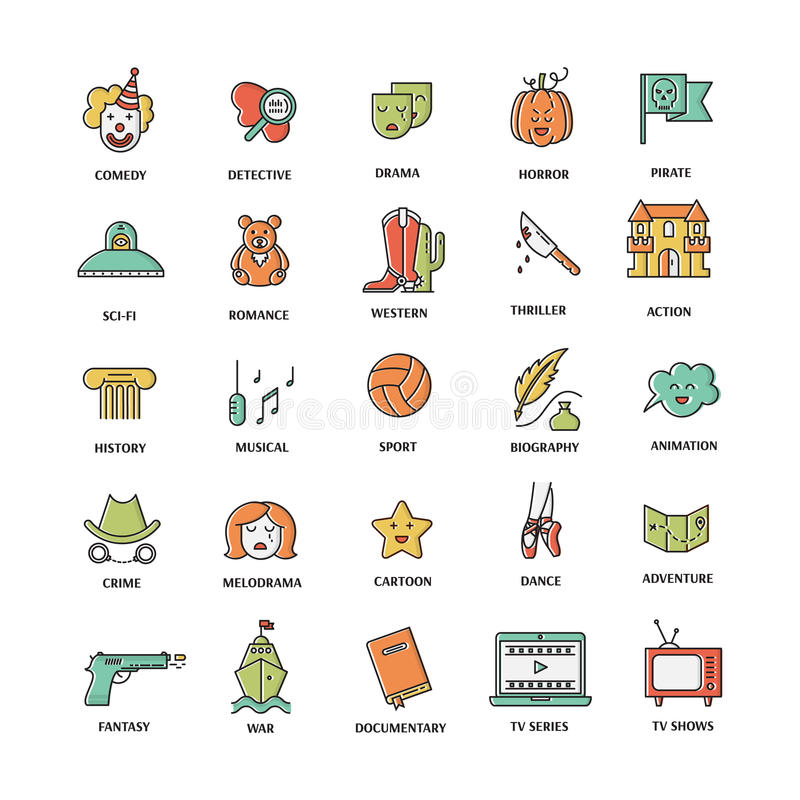 Film genre icon set. Vector set of movie genres line icons isolated on white background. Different film genre elements perfect for infographic or mobile app royalty free illustration