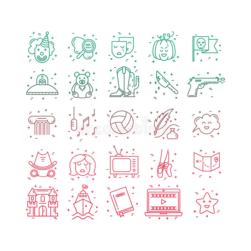 Film genre icon set. Vector set of movie genres line icons isolated on white background. Different film genre elements perfect for infographic or mobile app stock illustration