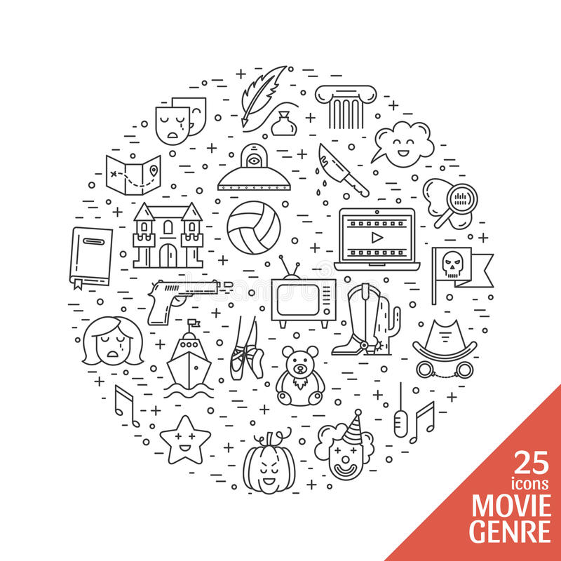 Film genre icon set. Vector set of movie genres line icons made in circle on white background. Different film genre elements perfect for infographic or mobile royalty free illustration