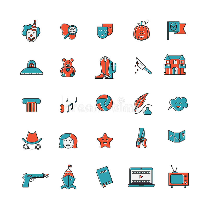 Film genre icon set. Vector set of movie genres line icons on white background. Different film genre elements perfect for infographic or mobile app stock illustration