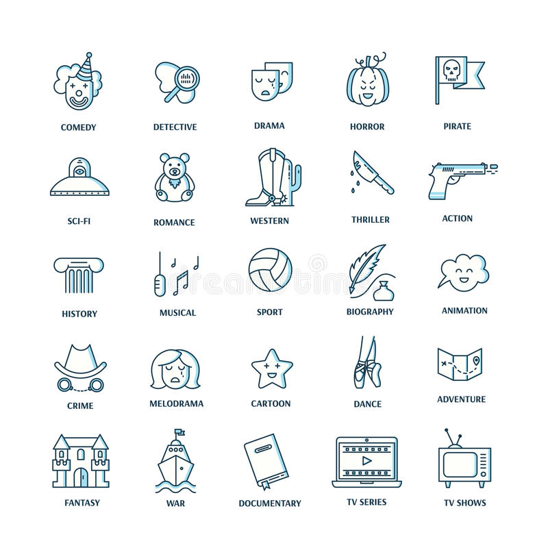 Film genre icon set. Vector set of movie genres line icons on white background. Different film genre elements perfect for infographic or mobile app vector illustration