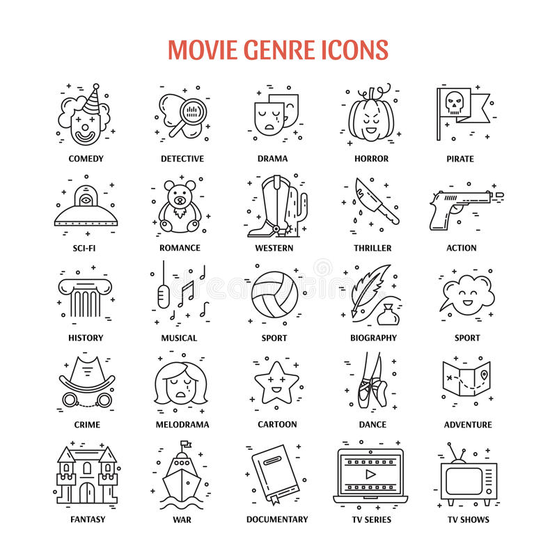 Film genre icon set. Vector set of movie genres line icons on white background. Different film genre elements perfect for infographic or mobile app royalty free illustration